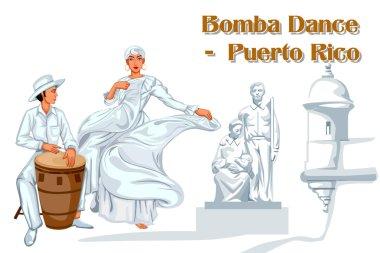 Couple performing Bomba dance of Puerto Rico