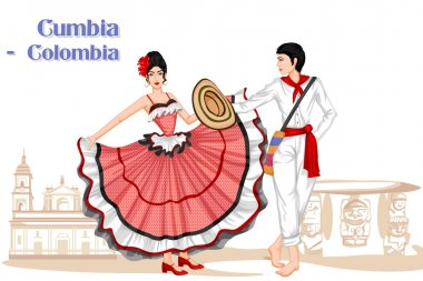 Colombian Couple performing Cumbia dance of Colombia