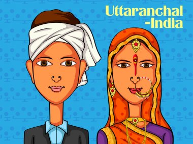 Vector design of Uttaranchali Couple in traditional costume of Uttaranchal, India clip art vector