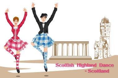 Couple performing Scottish Highland dance of Scotland