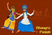 Fotografie Paar Bhangra Folk Tanz von Punjab, Indien