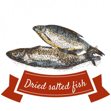 Dried salted fish product illustration.