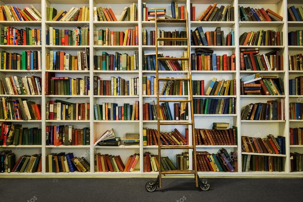 White Bookshelf With Books And Rolling Ladder Stock Photo