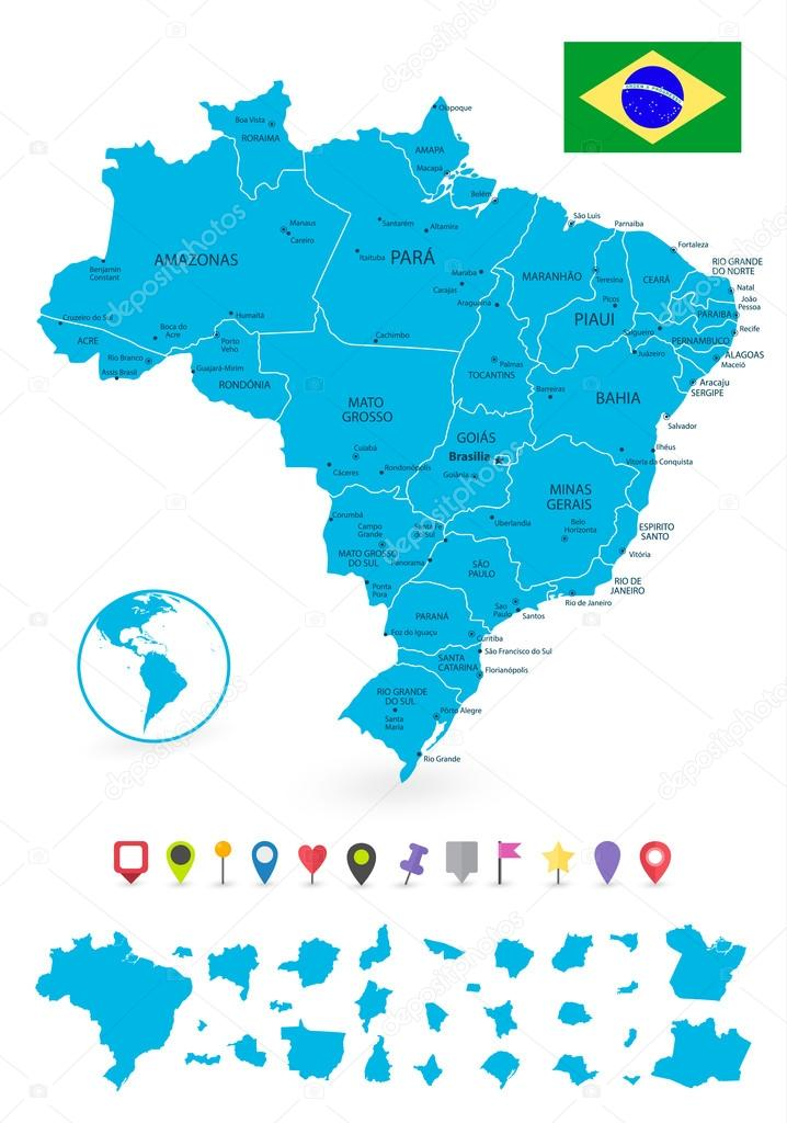 Administrative divisions map of Brazil with its states and flat