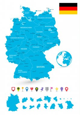 Map of Germany with it's states and flat map pointers