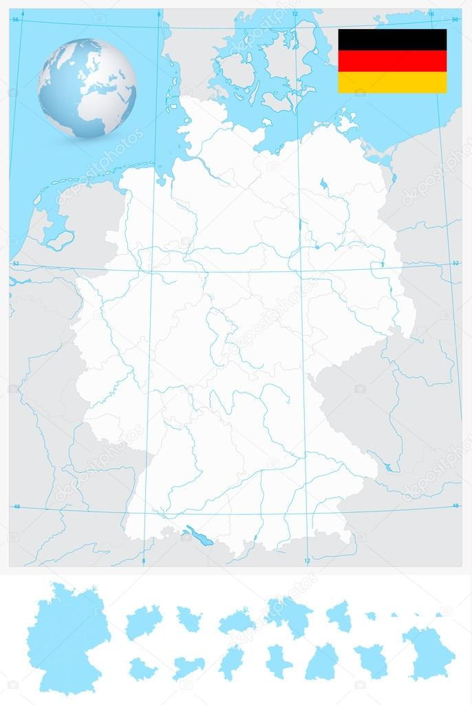 Map Of Germany With Rivers.Highly Detailed Blank Outline Map Of Germany With Rivers Stock