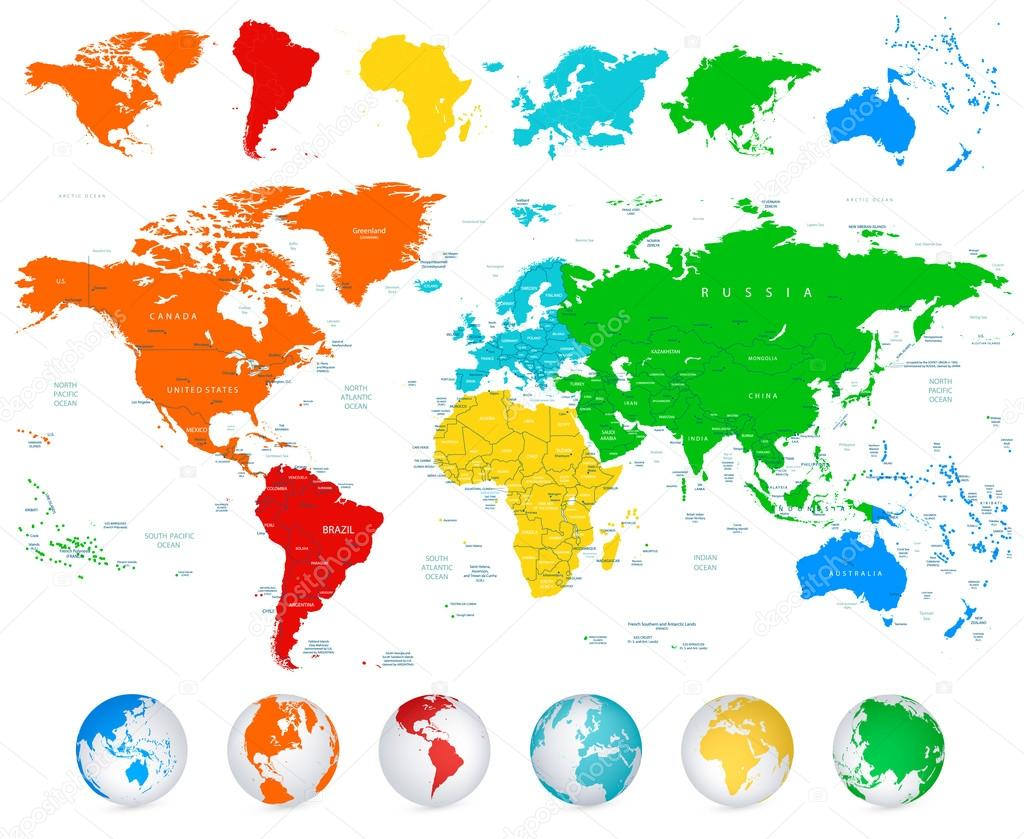 Detailed vector world map with colorful continents stock vector detailed vector world map with colorful continents stock vector 111242818 gumiabroncs Images