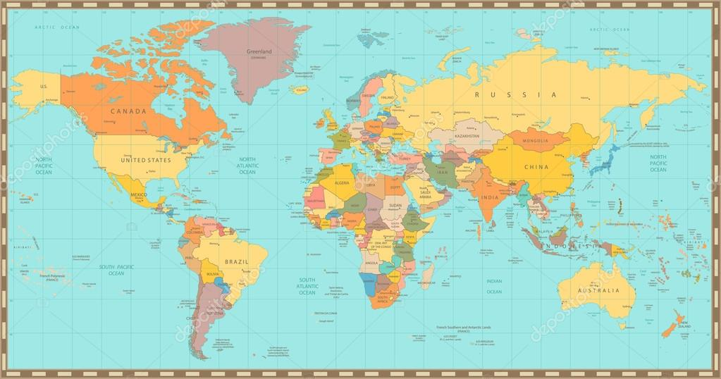 Old vintage color political world map stock vector cartarium old vintage color political world map stock vector gumiabroncs Image collections