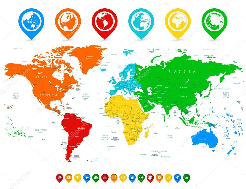 Detailed vector world map with colorful continents and colored m detailed vector world map with colorful continents and colored m stock vector 111334506 gumiabroncs Images