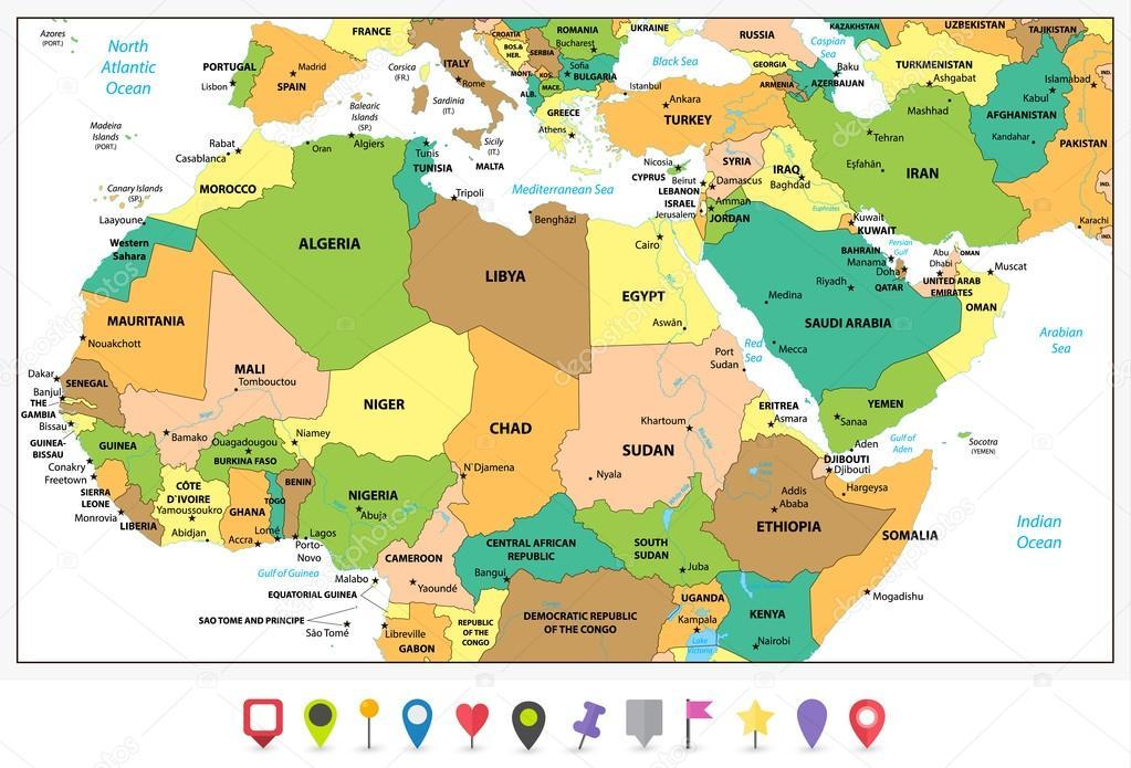 Carte De Lafrique Et Moyen Orient.Carte Detaillee De Politique D Afrique Du Nord Et Du Moyen Orient
