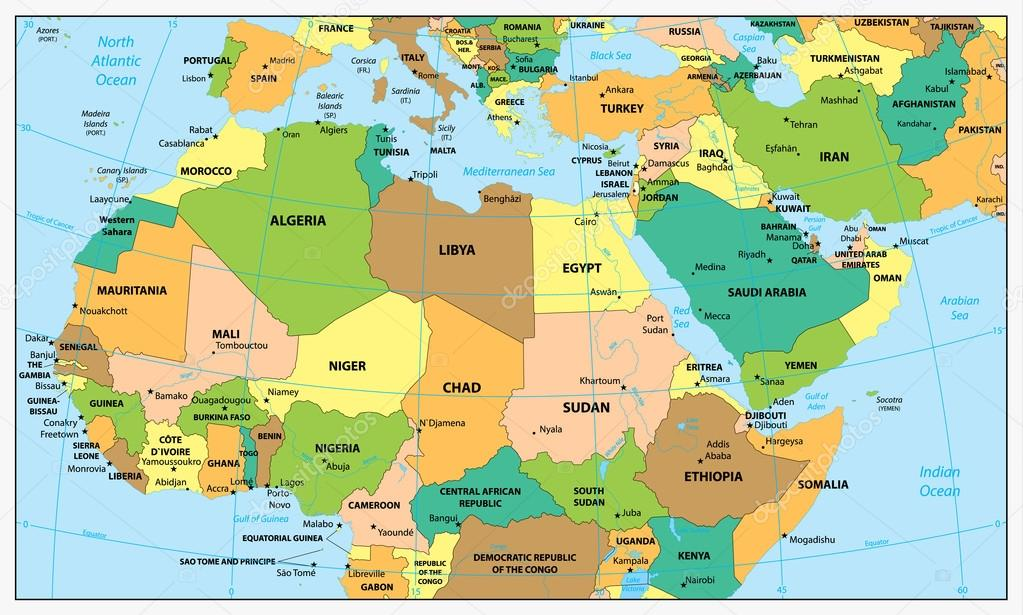 political map north africa Highly Detailed Political Map Of Northern Africa And The Middle political map north africa