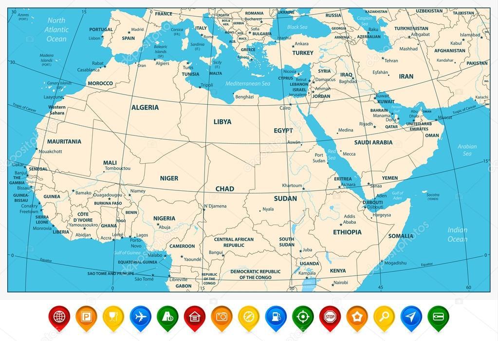 Carte Afrique Orient.Carte Tres Detaillee D Afrique Du Nord Le Moyen Orient Et