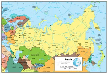 Russian Federation detailed political map