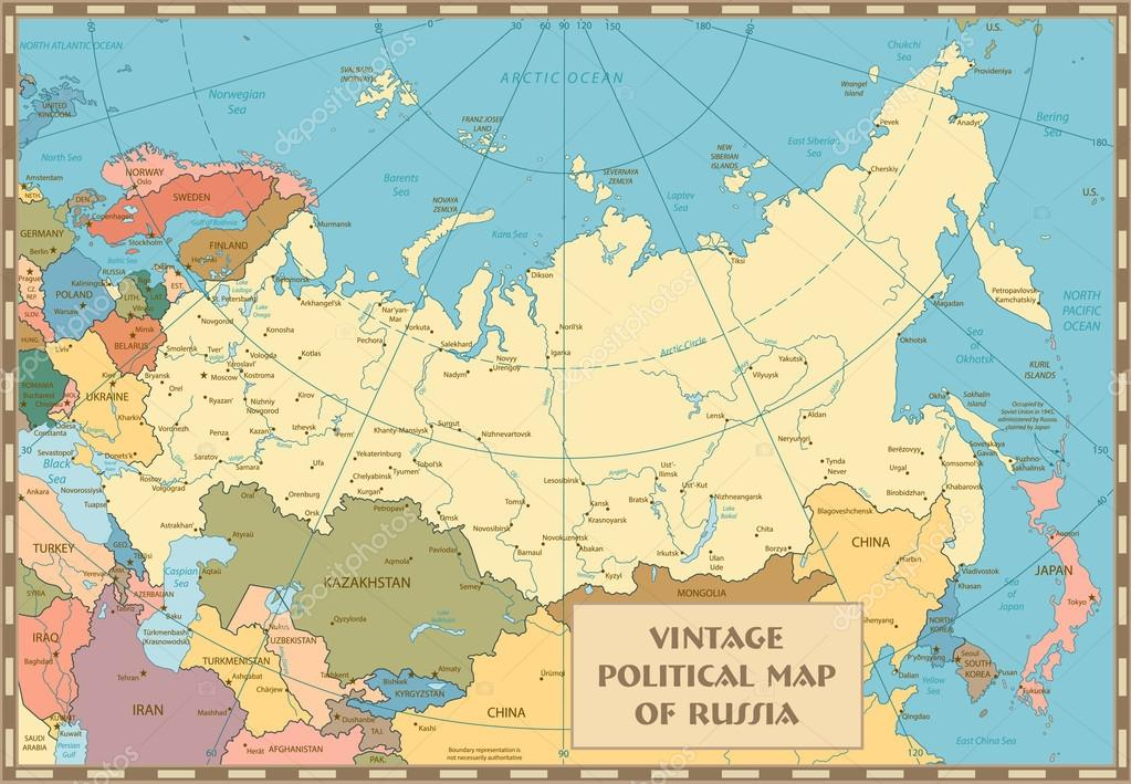 Old vintage map of Russian Federation Stock Vector Cartarium