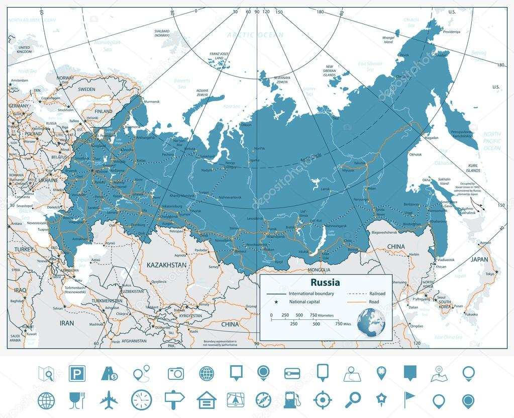 High Detailed Russia Road Map With Navigation Icons Stock Vector - Detailed map of russia