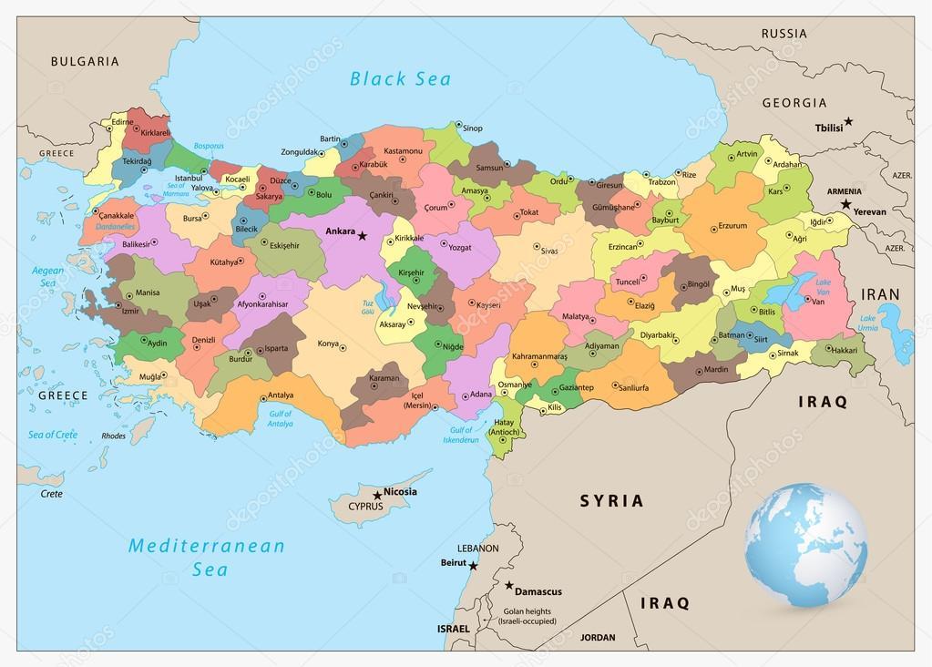 Karte Türkei.Administrative Karte Türkei Stockvektor Cartarium 112076226