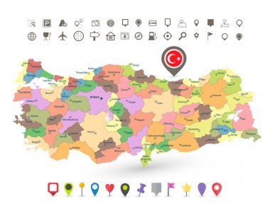 Turkey map with flag and navigation icons
