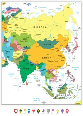 Asia highly detailed political map and flat icons