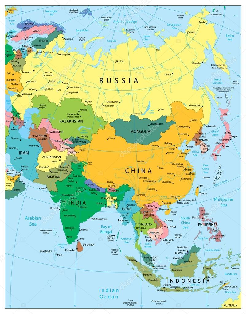 Politische Karte Asien.Sehr Detaillierte Politische Karte Asien Stockvektor Cartarium