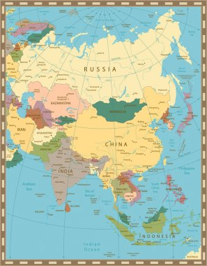 Old vintage color map of Asia