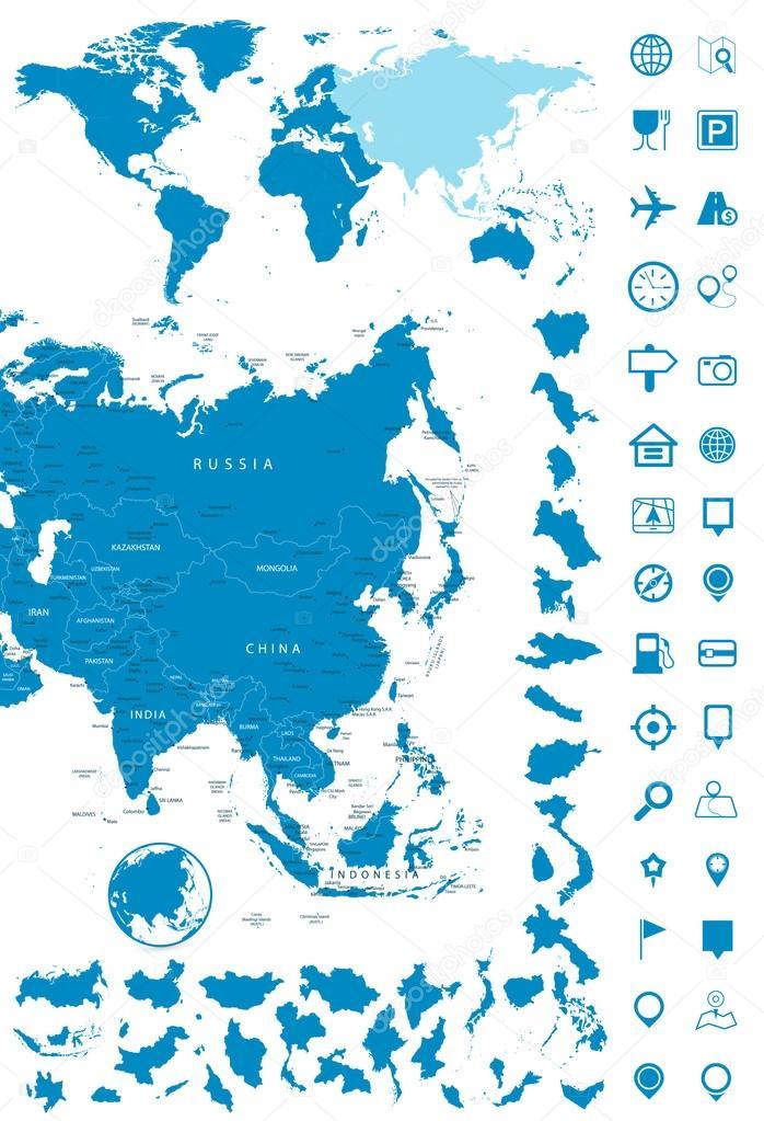 Detailed Map Of Asia.Detailed Map Of Asia And World Map Navigation Set Stock Vector