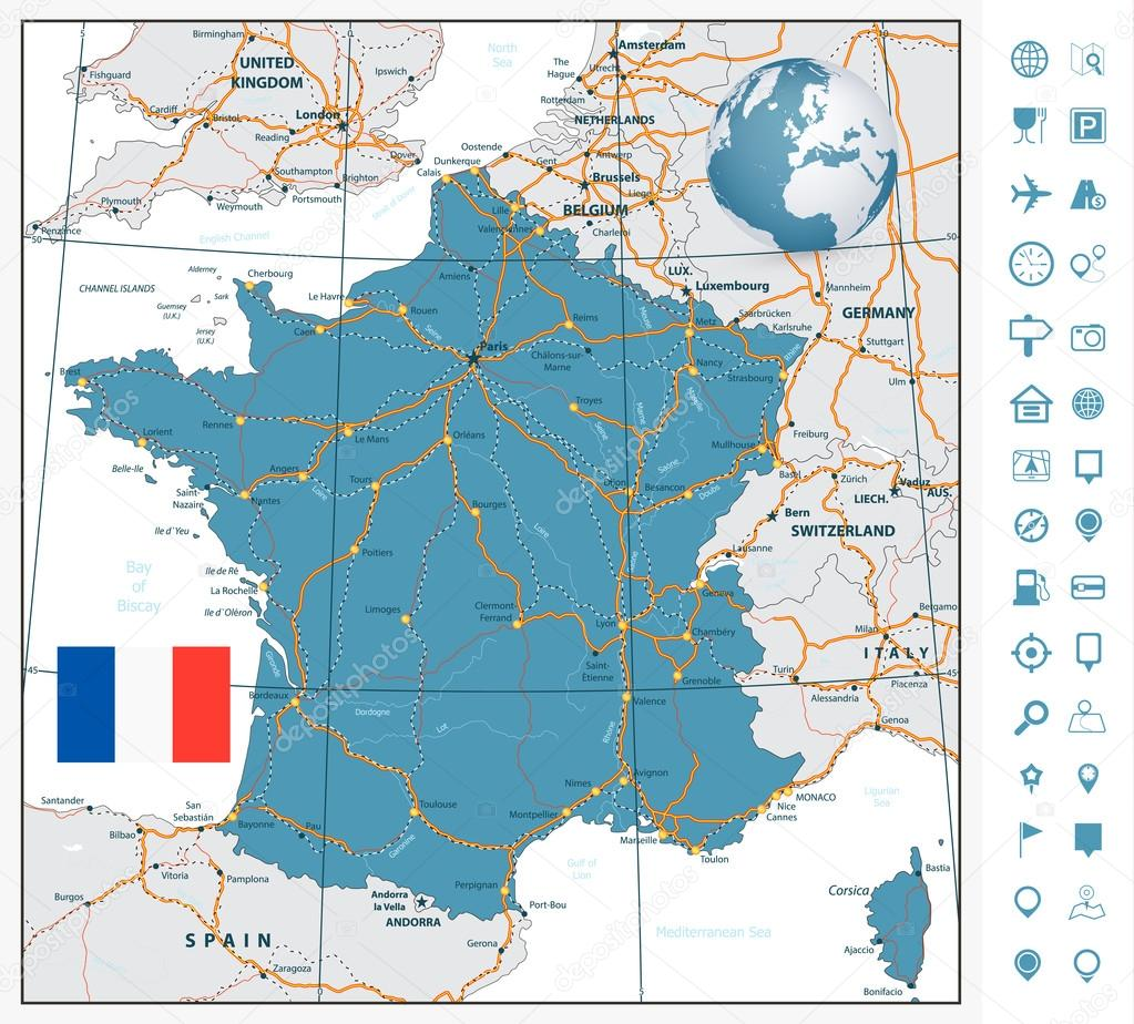 Detailed Road Map Of France.Highly Detailed Road Map Of France With Navigation Labels Stock