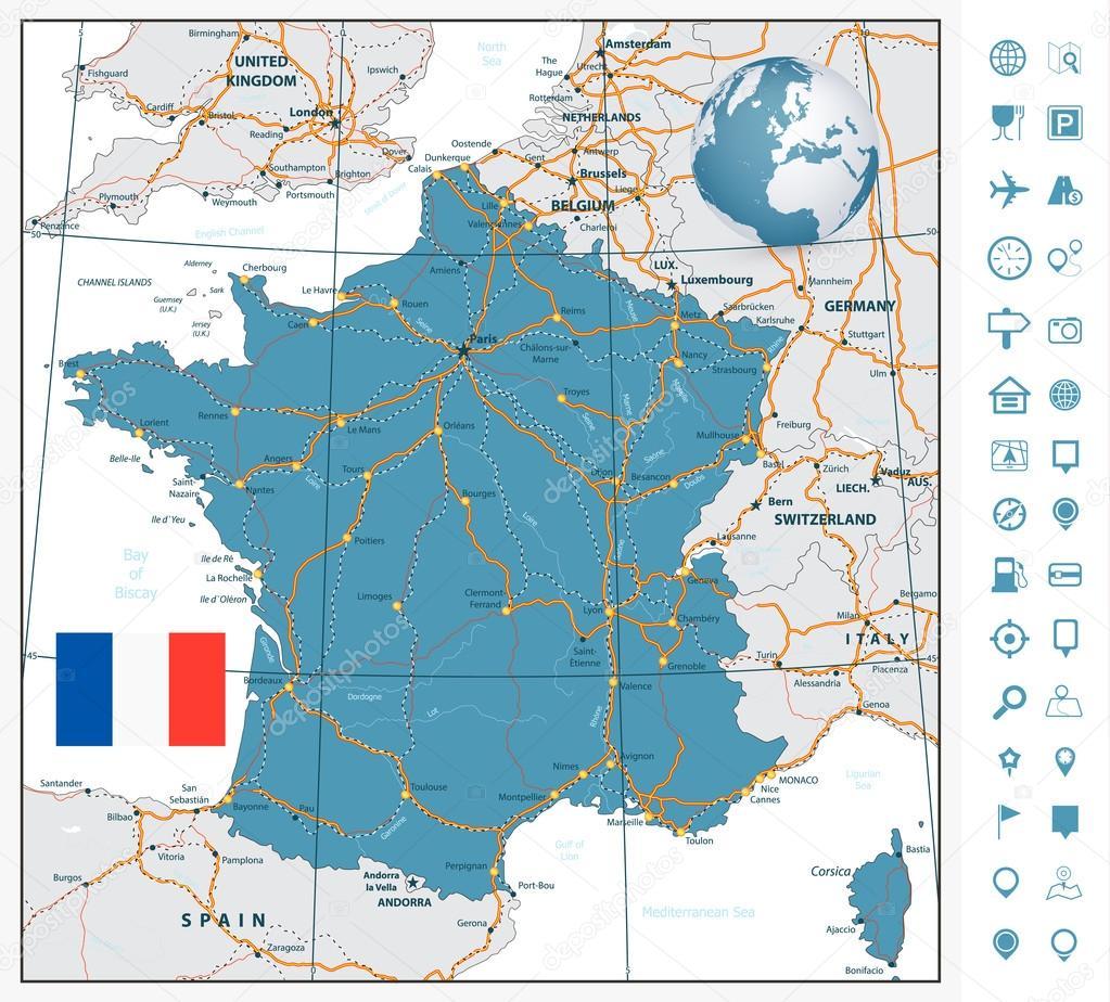 Cartina Geografica Francia Dettagliata.Cartina Stradale Altamente Dettagliata Della Francia Con
