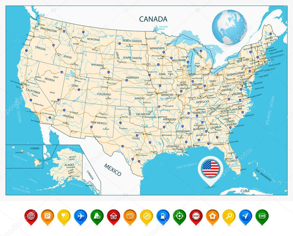 Highly detailed road map of United States and colorful map ...