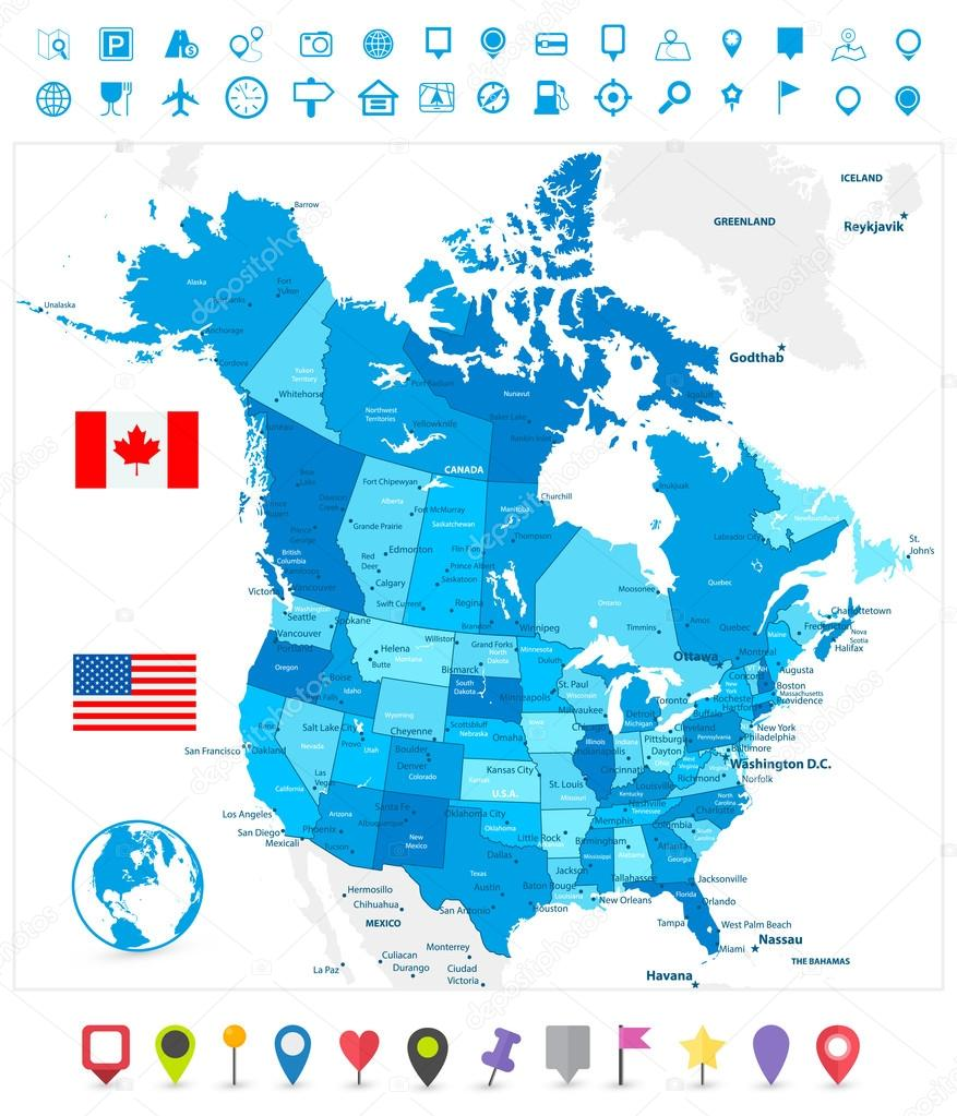 USA and Canada large detailed political map in colors of blue an