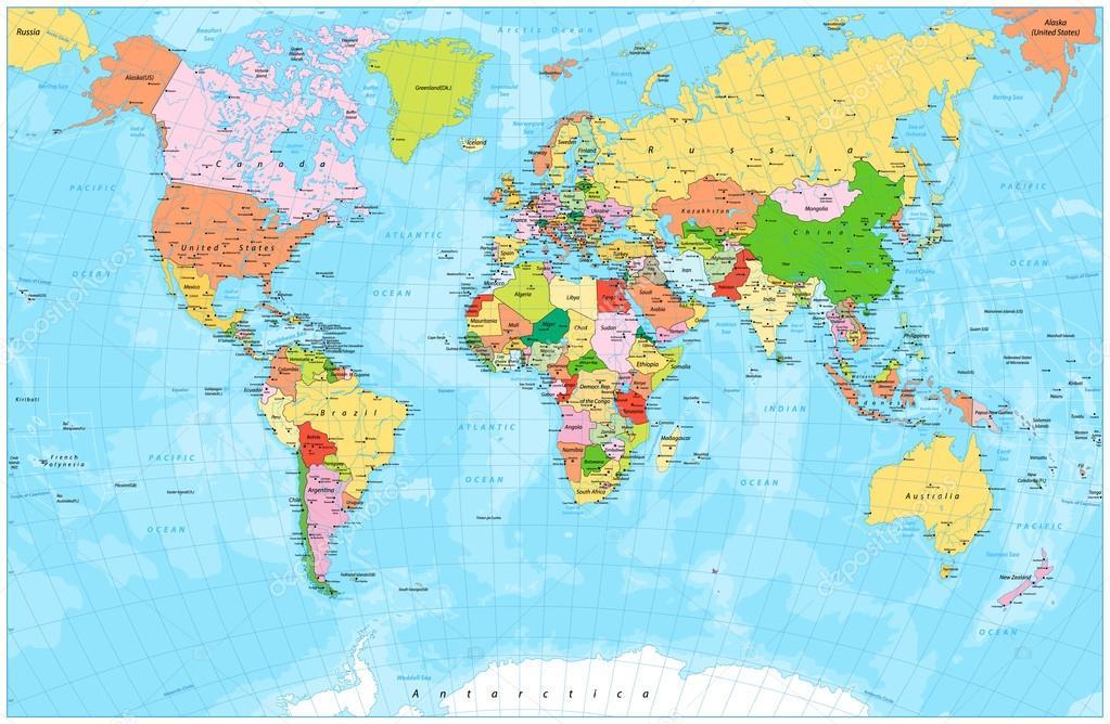 Mapa mundo político detallado con capitales, ríos y lagos — Vector ...