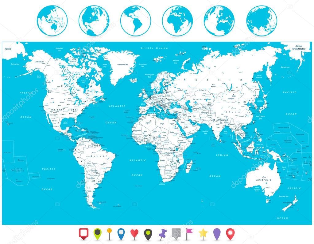 Weiße Farbe World Map und Navigation Icons detaillierte sehr illus ...