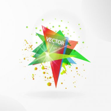 Vector abstract background template with triangle banner.