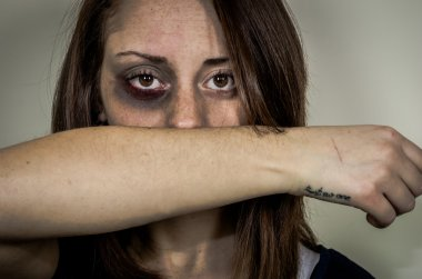 Stop violence against women concept
