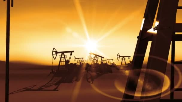 Flight Through the working Oil Pump Jacks to the Sun Shining Orange Light. Business and Technology Concept. Looped 3d animation. HD 1080.