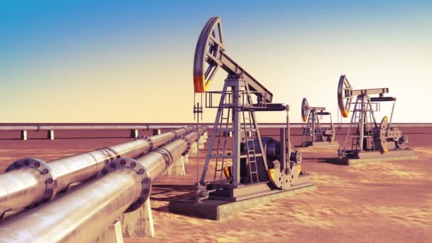Oil Pumps working at the Pipeline in the desert. Looped 3d animation. Technology and Transportation Business Concept. HD 1080.