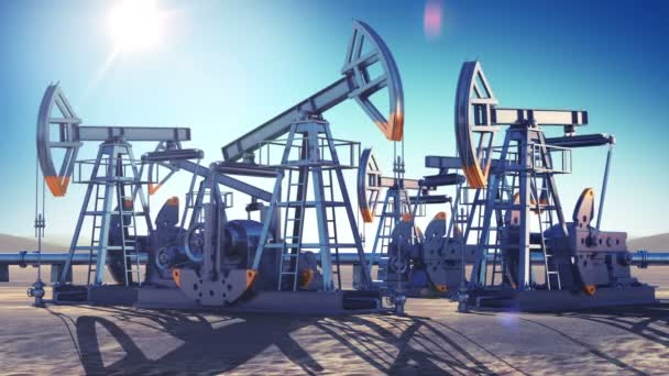 Oil Pumps Working in the Desert. Bright Sun Shining on Blue Sky. Looped 3d animation. HD 1080. Industrial and Technology Concept.