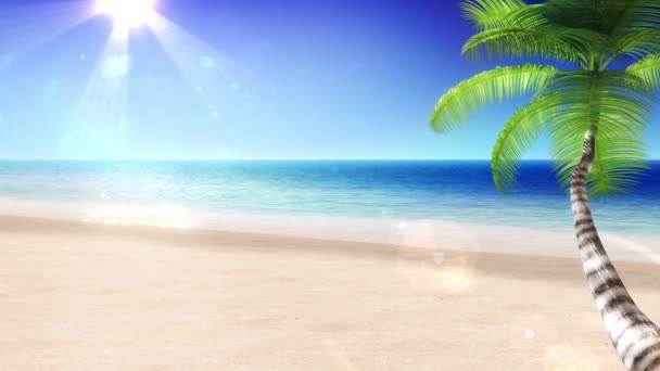 Tropical Beach with Palm Tree. Beautiful Looped 3d animation. HD