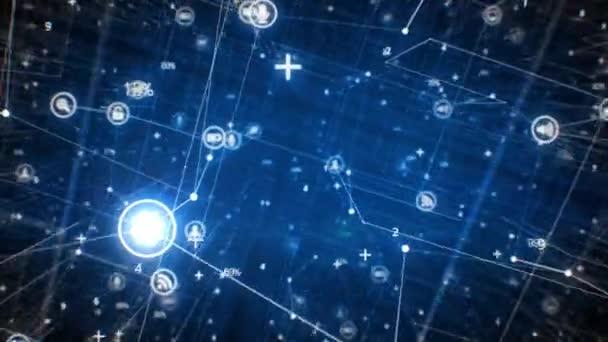 Netzwerk-Ikonen Blue Grid fliegen durch. Schöne 3D-Animation abstrakter wachsender Netzstrukturen mit Computern, Telefonen und anderen Geräten. Digitale Schnittstelle. Technologiekonzept. 4k Ultra HD 3840x2160.