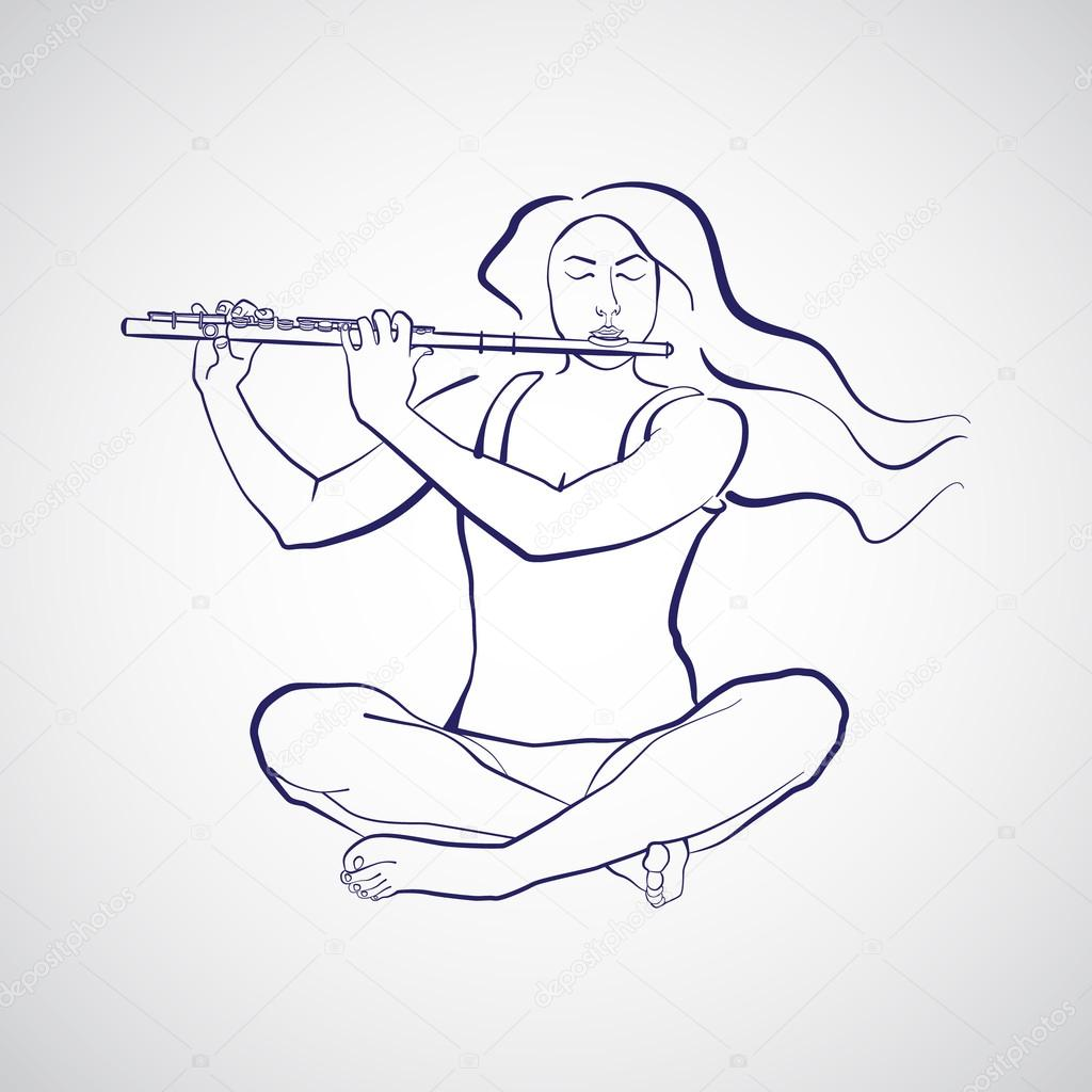 Sukhasana Içinde Oturan Ve Flüt Oynayan Kadın çizimi Stok Vektör