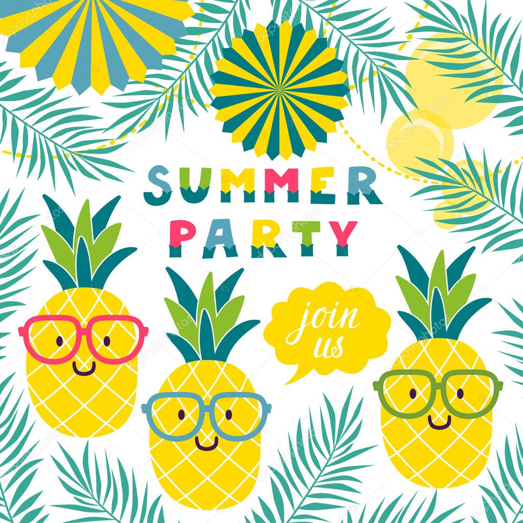 Vector invitation template with funny pineapples in glasses.