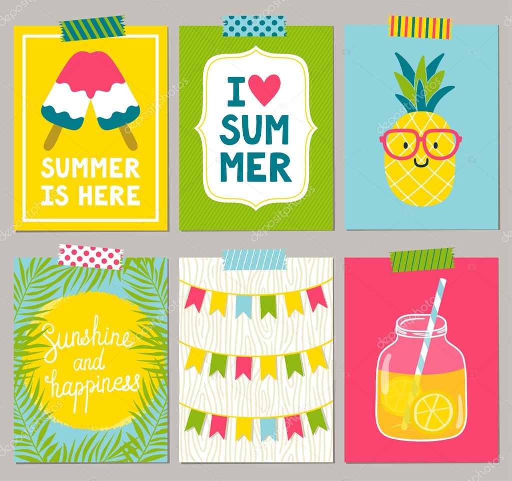 57e897db7092b Conjunto de vectores de tarjetas de verano brillante. Carteles de verano  hermoso con sol