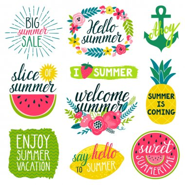 Vector set of beautiful labels with hand written phrases