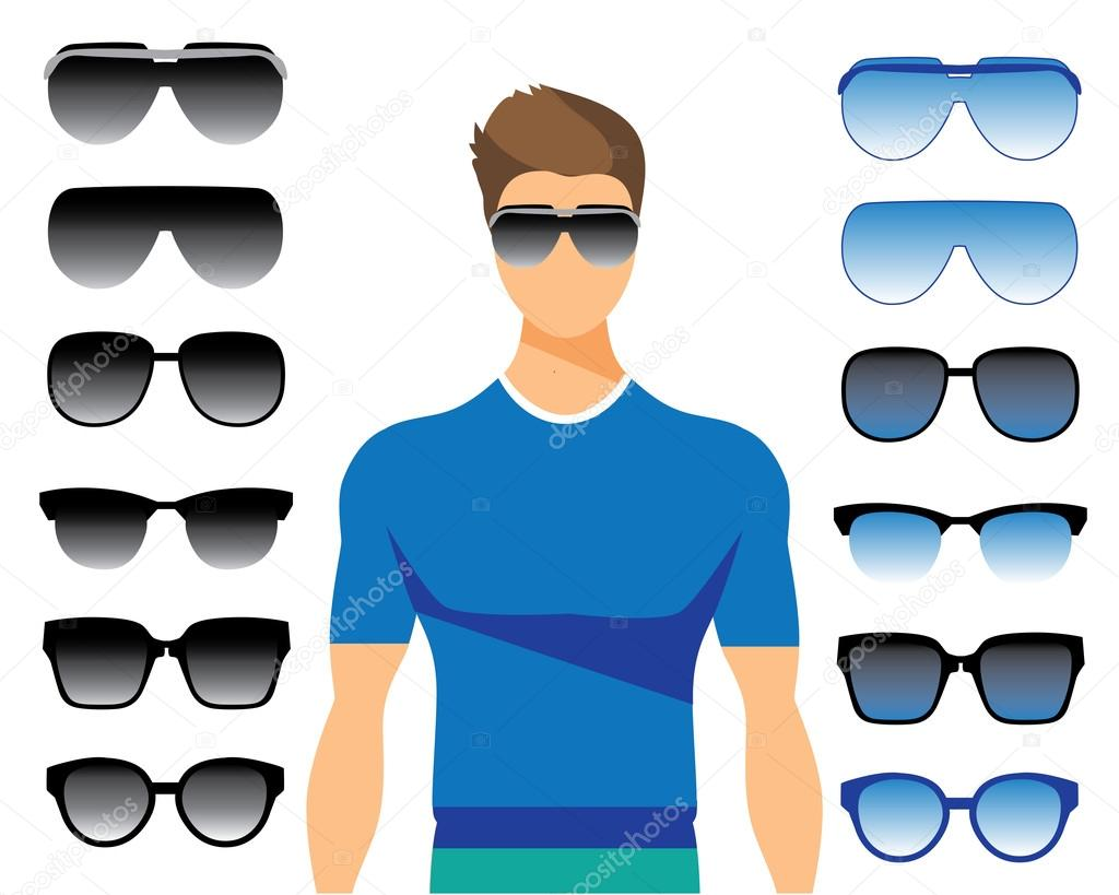 Vector set of different glasses on white background. Stylish men in ...