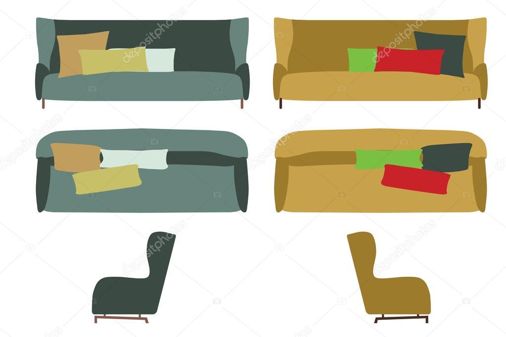 Conjunto de sofás grandes. Muebles para su diseño Interior ...