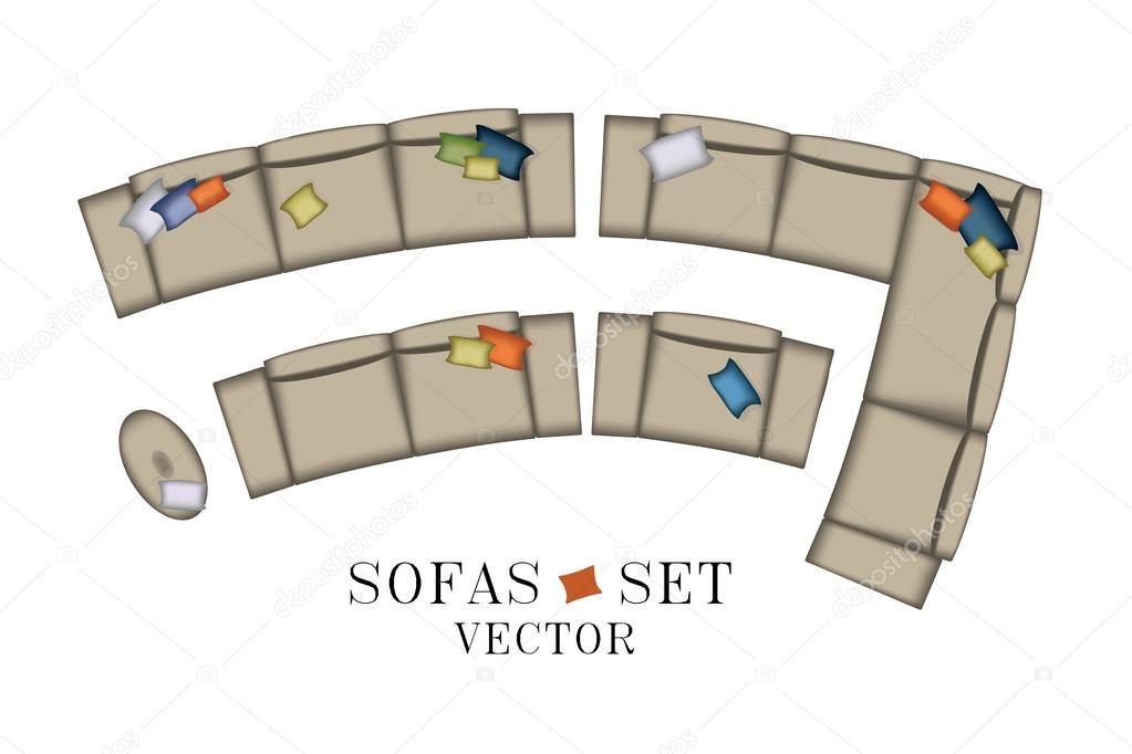 Sofas sessel set ansicht von oben m bel hocker kissen for Sofa von oben
