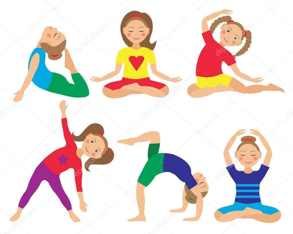 Ilustración de vector de posturas de yoga del niño. Conjunto de actividades para  niños - dibujos  movimientos de yoga para niños — Vector de AM2VECTORS ... 281698fb3242