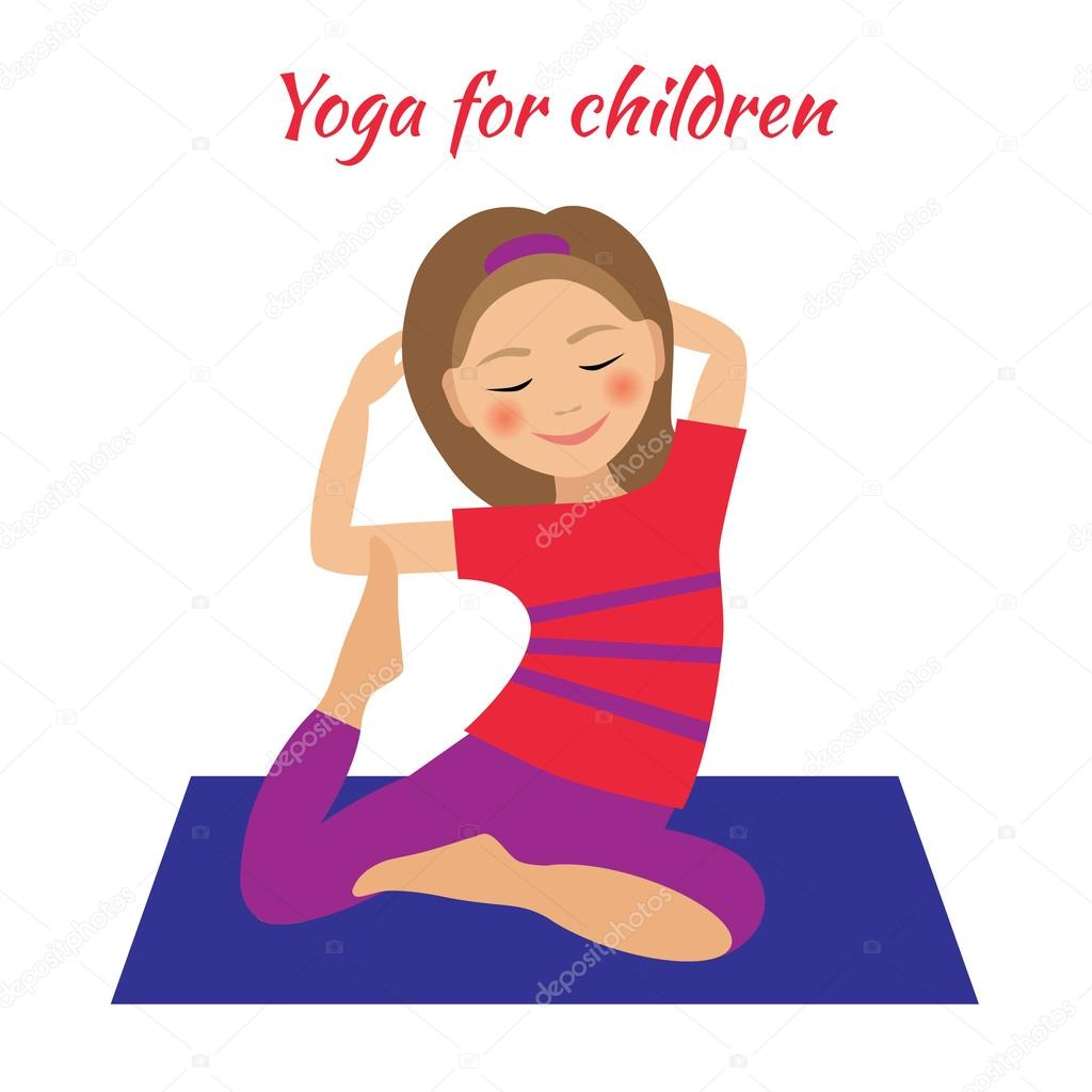 Yoga For Kids Children Activities Girl Doing Exercises Stock Vector C Am2vectors 115934756