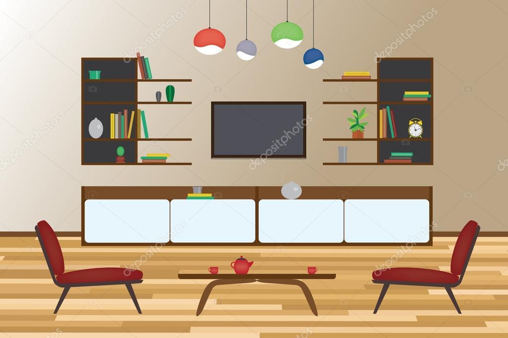 Vector: sala vectorizada | Diseño de la casa vector plano Interior ...