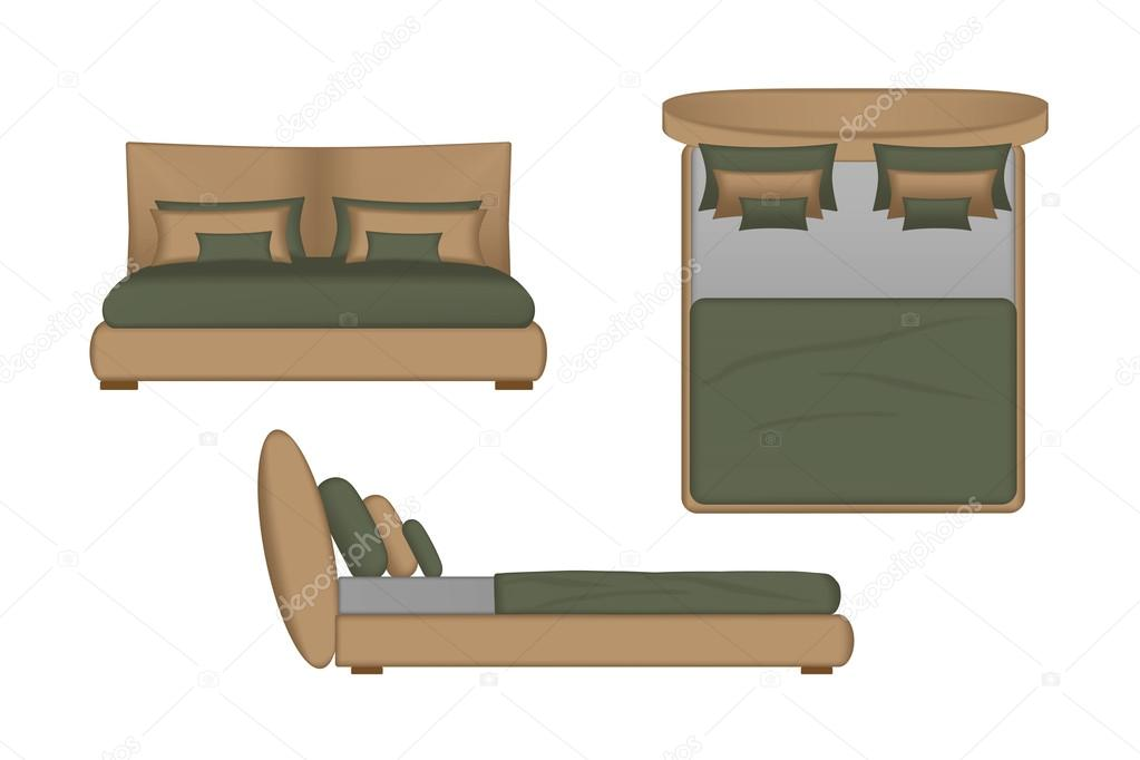 Realistic Bed Illustration Top Front Side View For Your Interior
