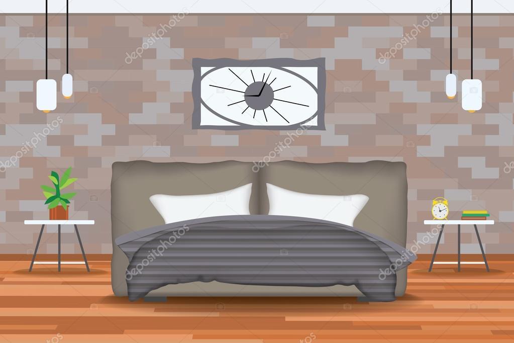 Loft interiorismo de estilo Vector Illustration.Bed delante de la ...